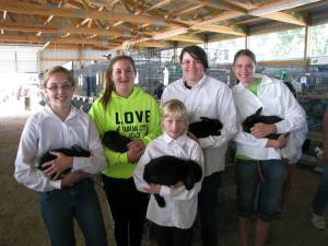 Watertown Badgers members with their rabbits in the Small Animal Building