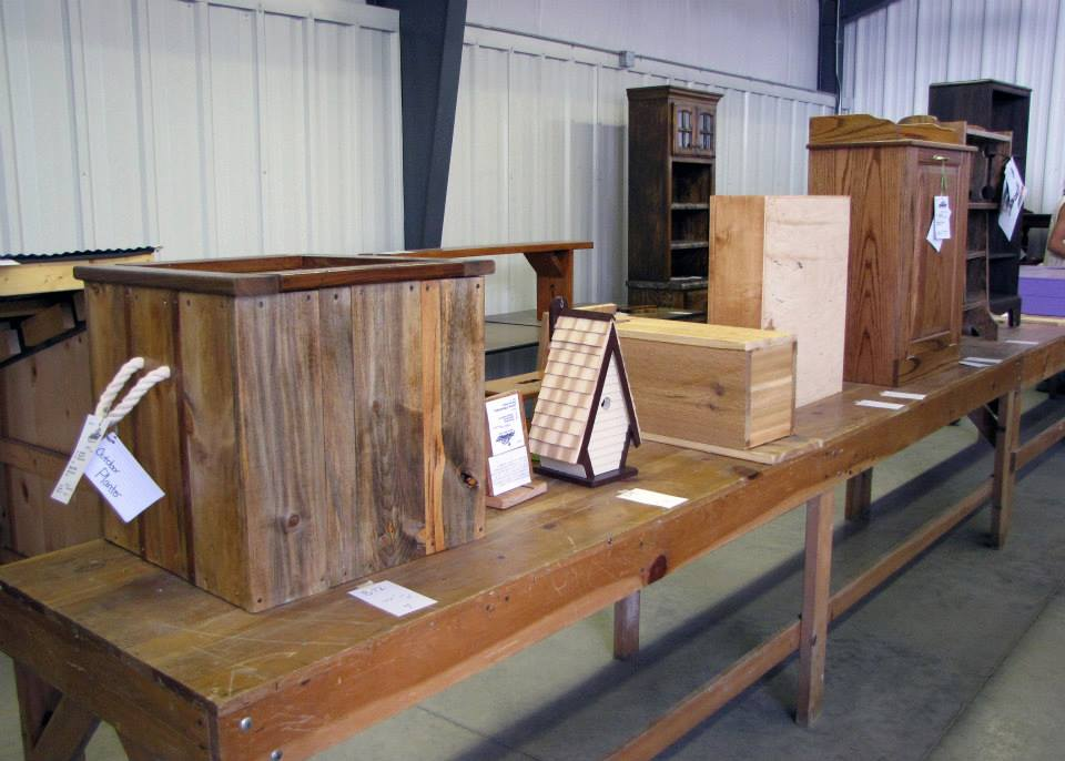 Woodworking entries on display in the Youth Building at the Dodge County Fair