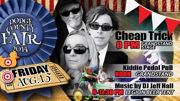 Cheap Trick rocks the stage on Friday, August 15th of the 2014 Dodge County Fair.