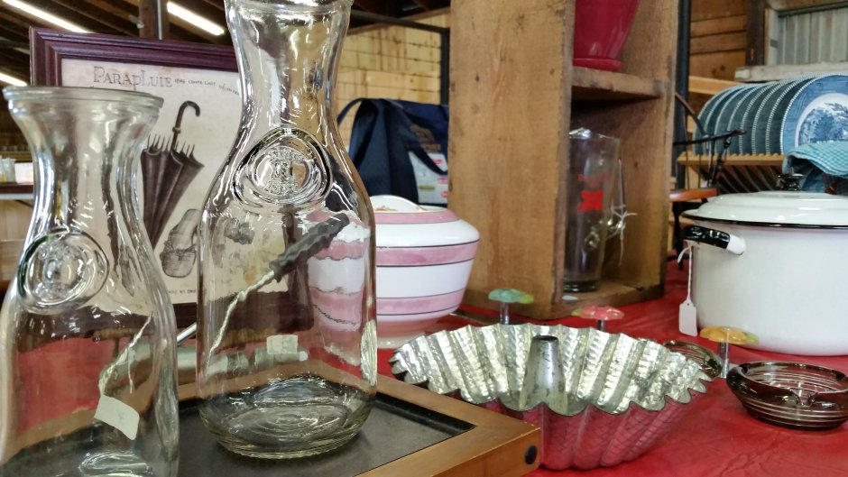 Glass Milk and Kitchen Wares at Flea Market