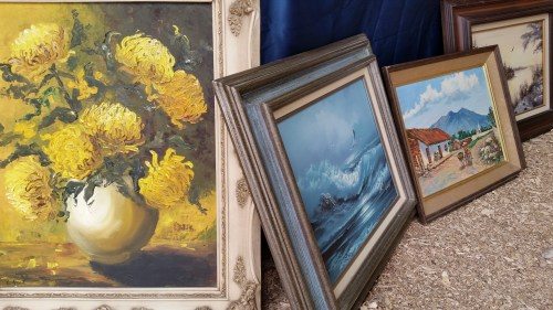 Oil Hand Painted Art and Frames at the Flea Market