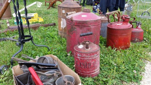 Rusty Vintage Gas Cans at the Flea Market