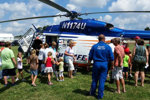 Flight For Life landing at the Dodge County Fair