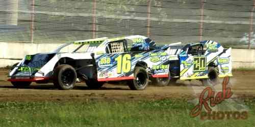Goeff Jeche and Brandon Schmitt IMCA Sport Mod Racing Beaver Dam WI