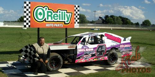 Bud Reidner Twisted Iron Custom Cycles IMCA Northern Sport Mod Heat Race Win
