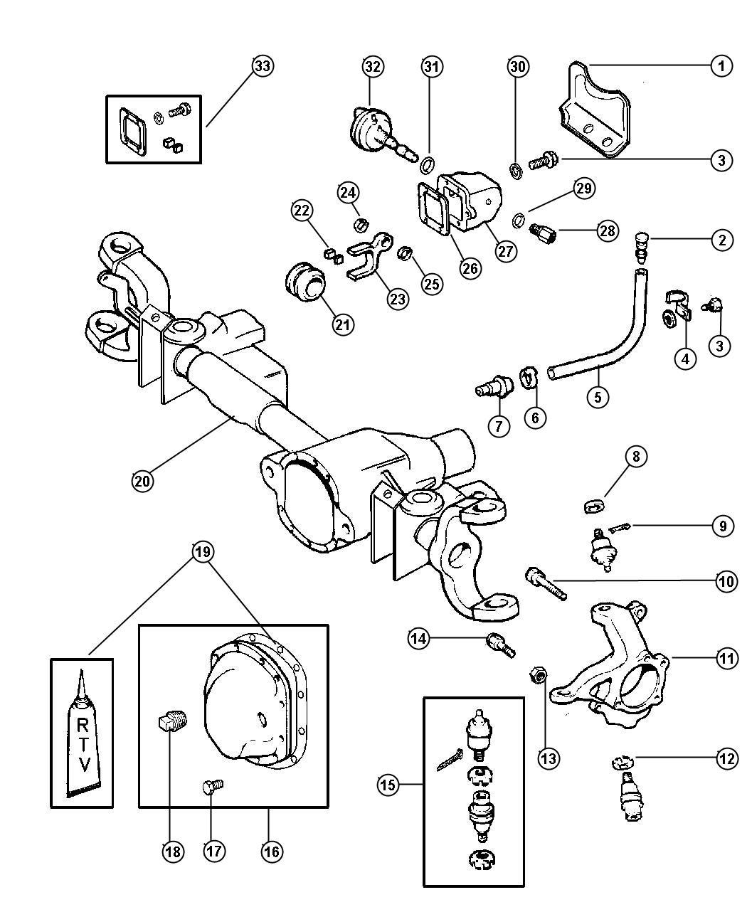 Dodge Durango Motor Kit Axle Vacuum Front Ratio Dana