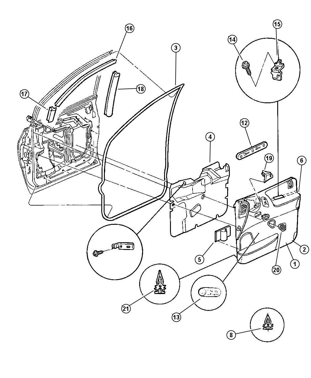 Dodge Ram Fastener Door Trim Panel B Pillar Right