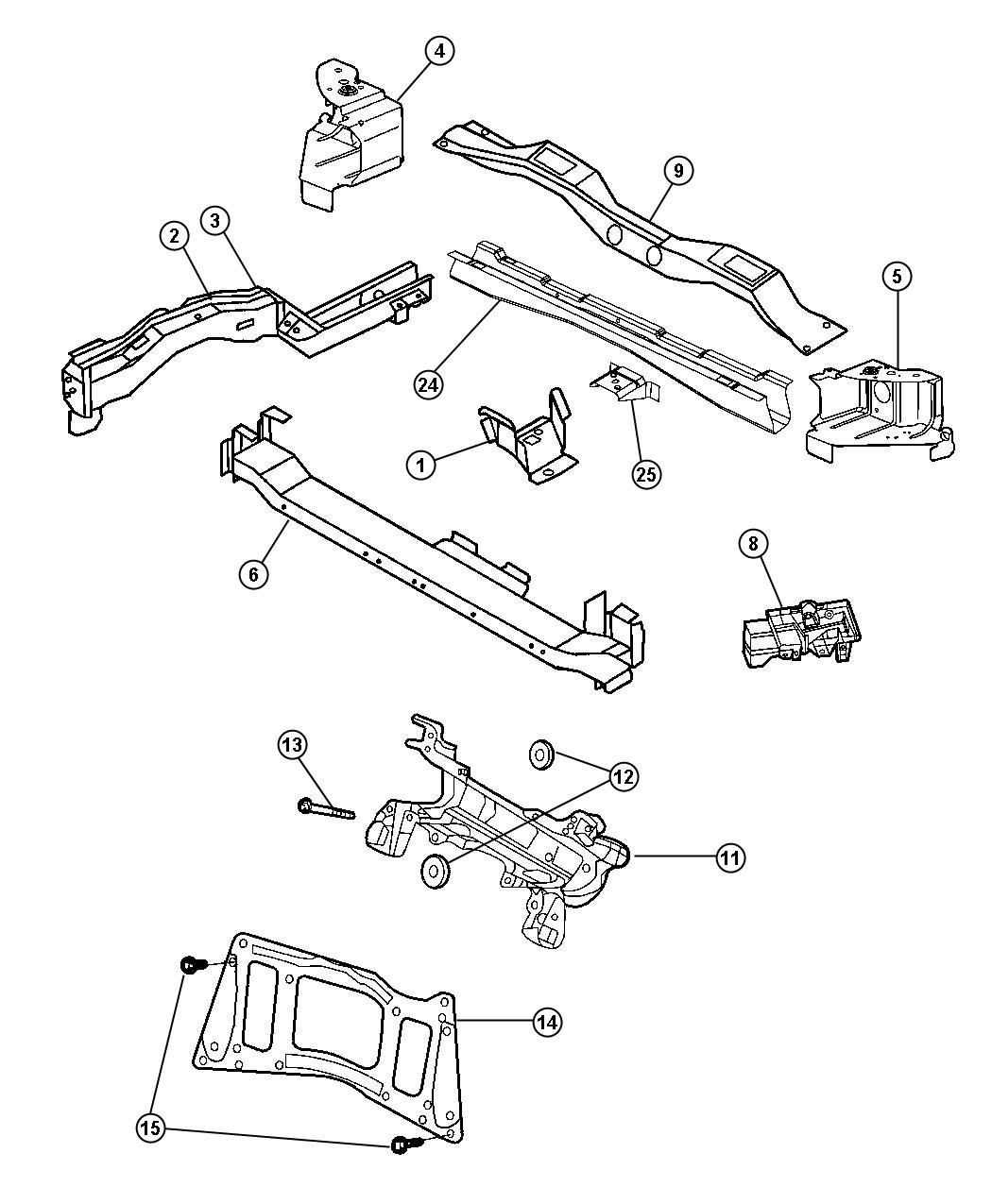 Dodge Caravan Crossmember Radiator Upper Cooling
