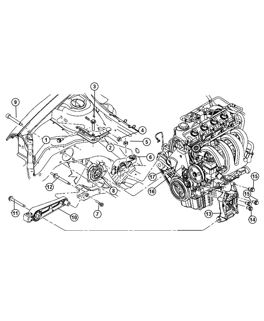 Dodge Neon Support Support Package Engine Mount Engine
