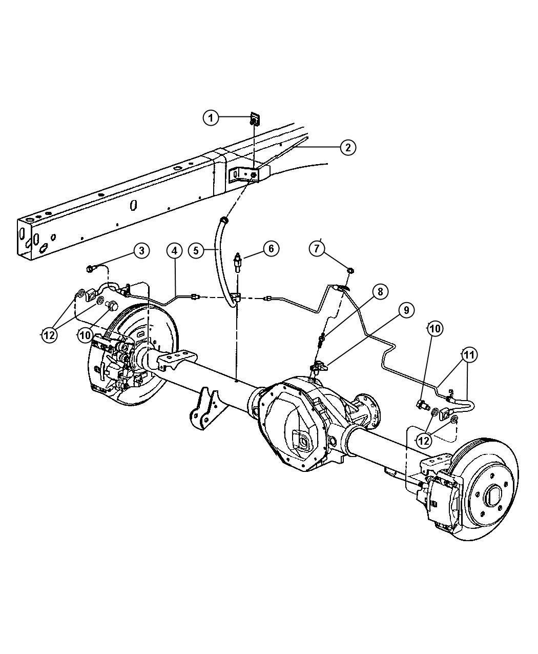 Dodge Ram Hose Brake Rear Anti Lock 4 Wheel Disc