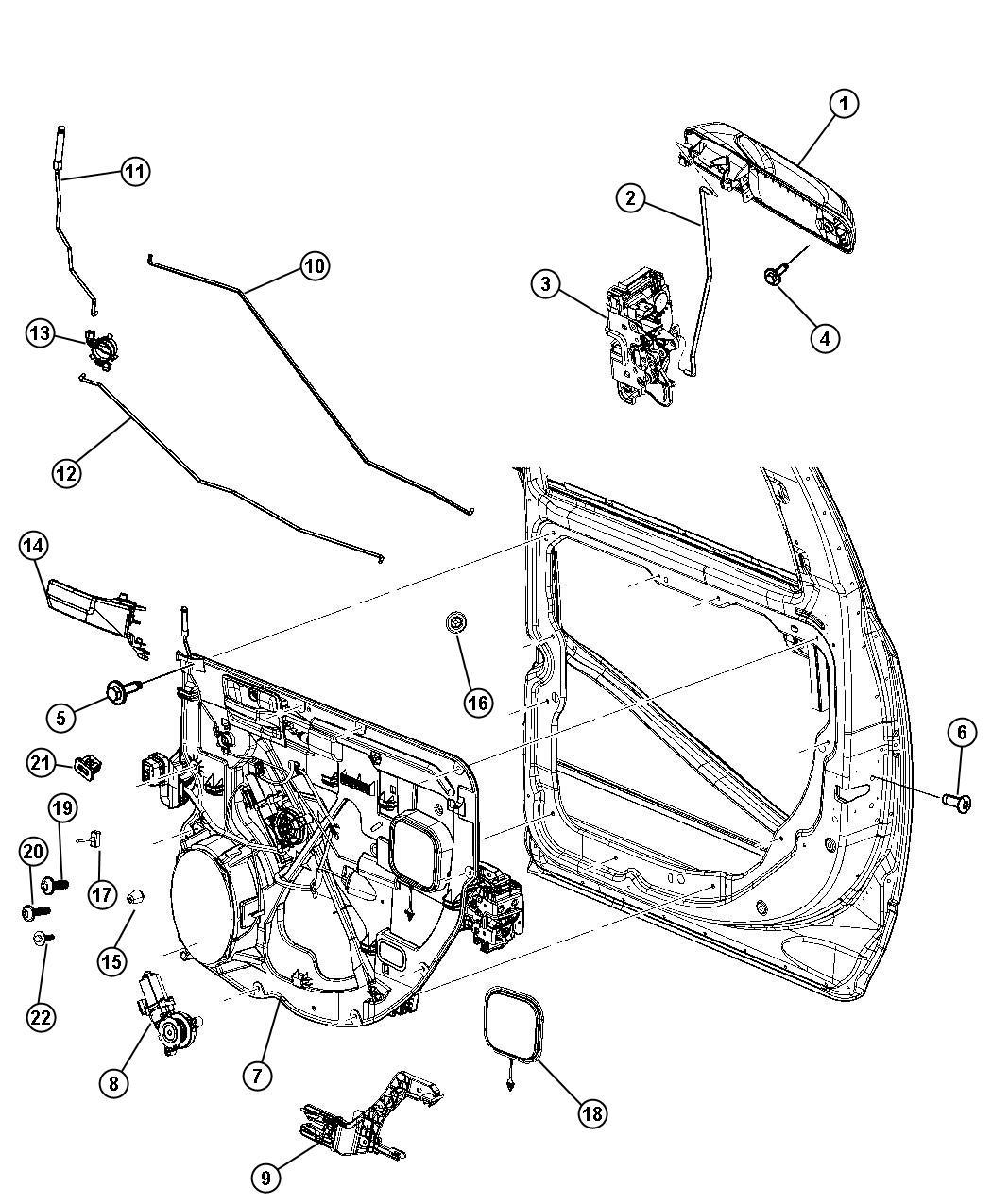Dodge Ram Presenter Latch Rear Door Right Trim Power Locks