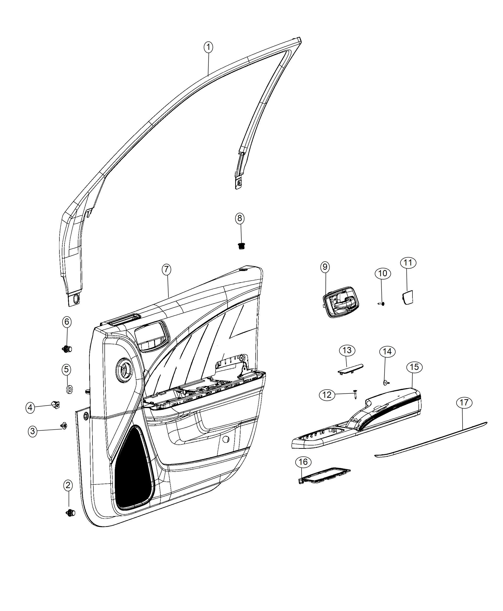 Dodge Charger Panel Assembly Front Door Trim Left