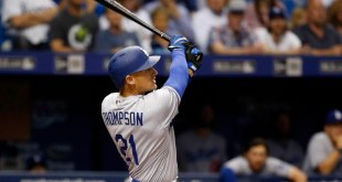 May 3, 2016; St. Petersburg, FL, USA; Los Angeles Dodgers center fielder Trayce Thompson (21) hits a 2-run home run during the second inning against the Tampa Bay Rays at Tropicana Field. Mandatory Credit: Kim Klement-USA TODAY Sports