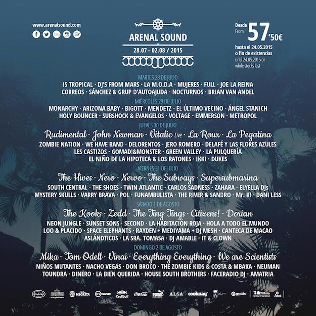 Cartel Arenal Sound 2015 - Programación por días