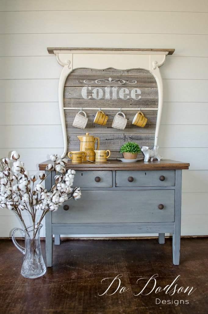 Insanely Easy Way To Repurpose An Antique Washstand into a coffee bar #dododsondesigns #antiquewashstand #furnituremakeover #paintedfurniture #aniquefurniture #vintagefurniture