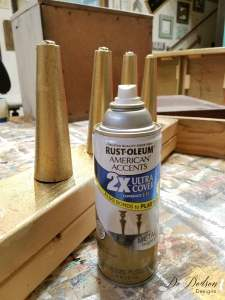 Gold metallic legs for this Dixie Nightstand / Painted Furniture Makeover