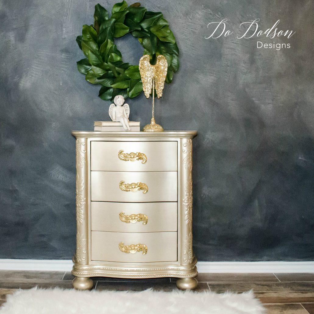 Champagne metallic painted furniture dododsondesigns paintedfurniture furnituremakeover metallicpaintedfurniture