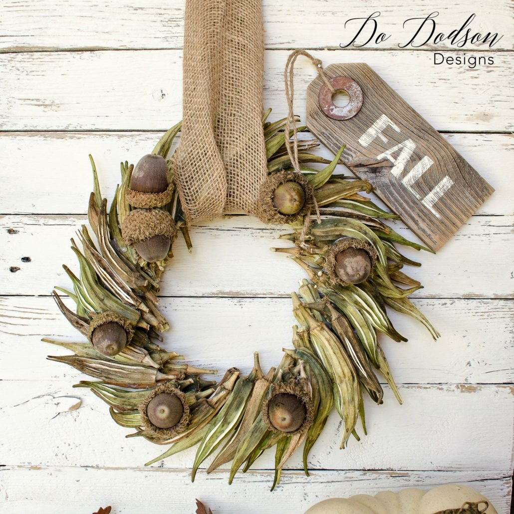 DIY Okra Front Door Wreath #frontdoorwreath #fallwreath #wreath #diyproject