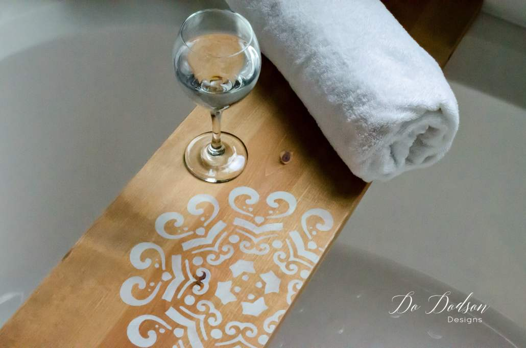 DIY Wood Bathtub Caddy Tray
