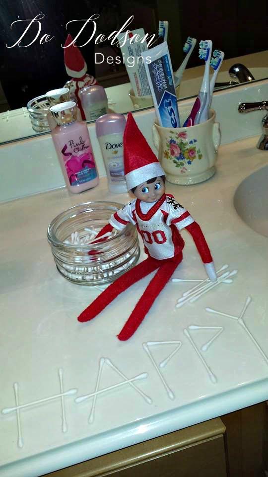 Elf on the shelf mischievious ideas with Q-tip art.