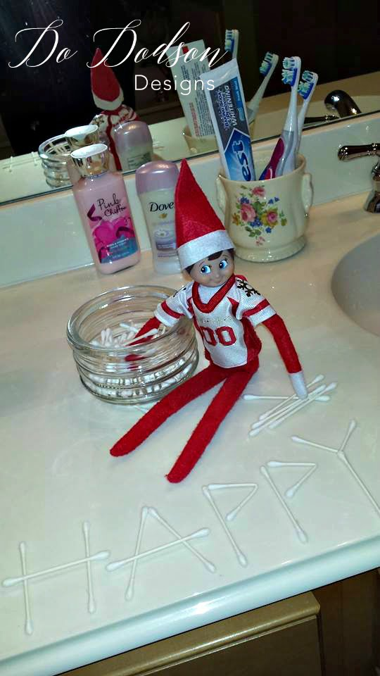 Elf on the shelf mischievious ideas with Q-tip art.