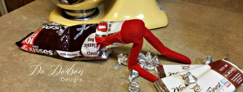 Elf on the shelf mischievious ideas with a hershey kiss.
