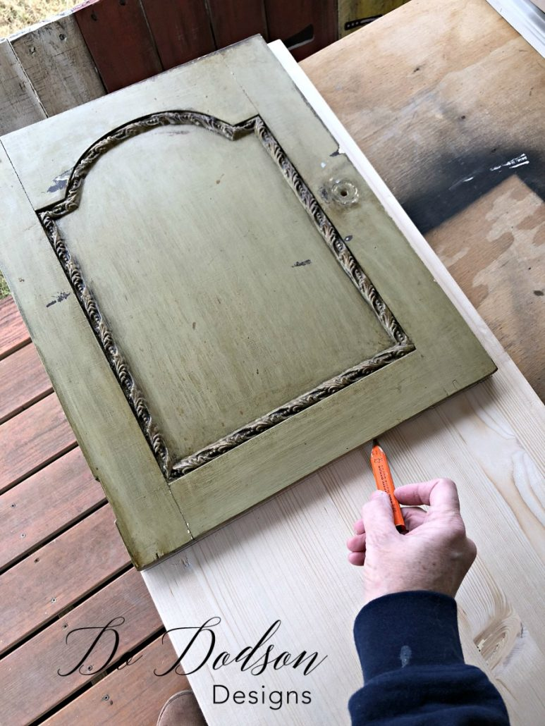 How to measure and get a perfect fit for a broken cabinet door on second hand furniture. #dododsondesigns #furniturerepair #rustpatina #furnituremakeover #paintedfurniture