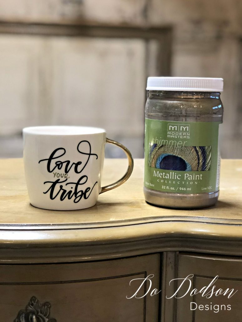 Two of my favorite things... metallic paint and coffee. #dododsondesigns #metallicpaint #loveyourtribe