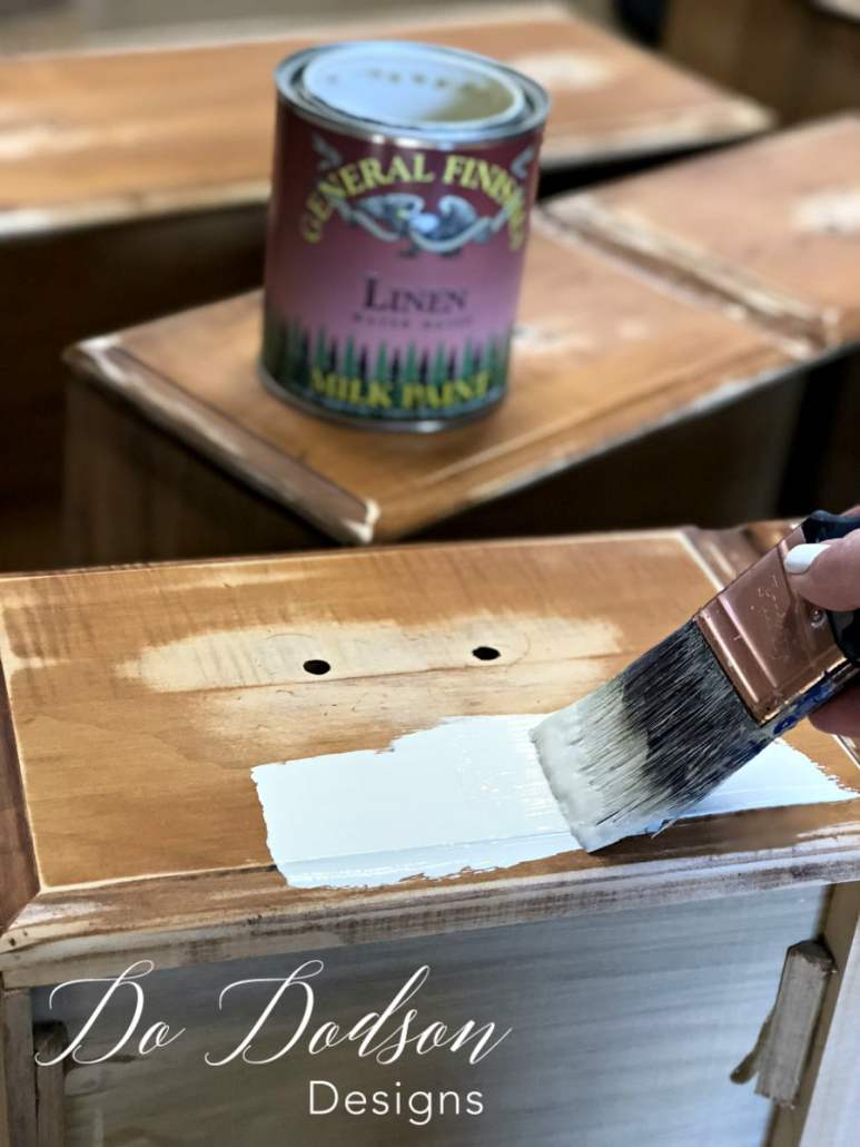 When furniture stripping, I sometimes add contrast to my furniture by painting the lower part a beautiful complementary color. #furniturestripping