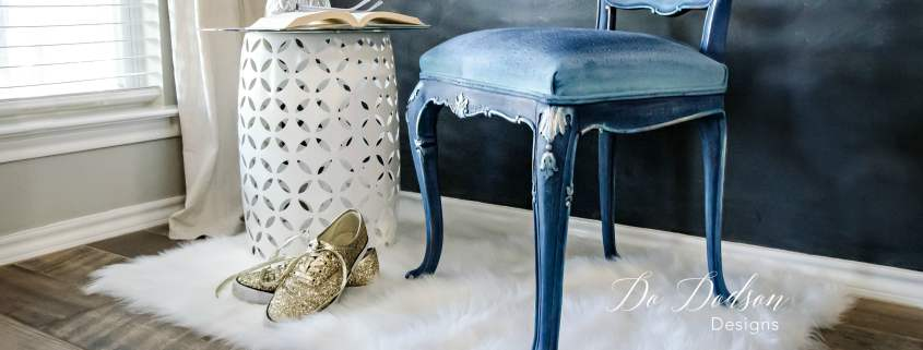 Painting fabric is a great way to update an old outdated upholstered chair.