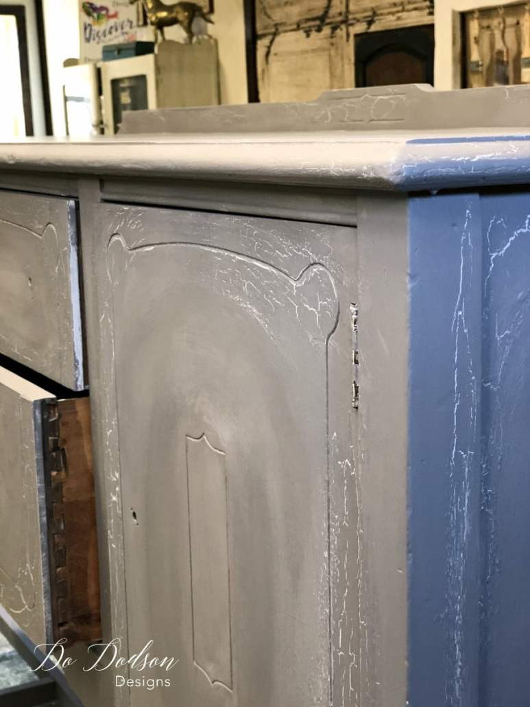 Eye Catching Grey Sideboard That Will Change Your Mind About Paint #dododsondesigns #greysideboard #paintedfurniture #furnituremakeover #weatheredlook