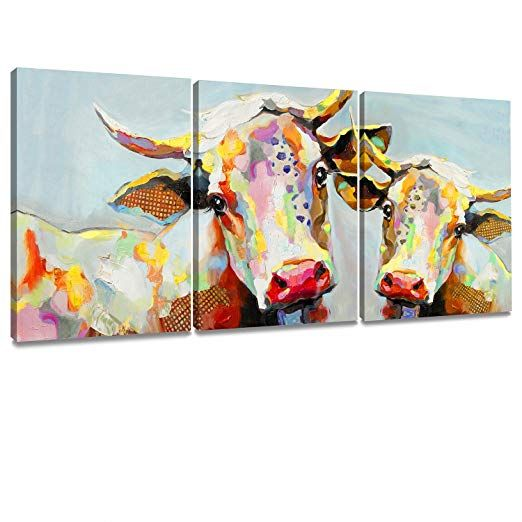 Farmhouse Cow Wall Art #ad