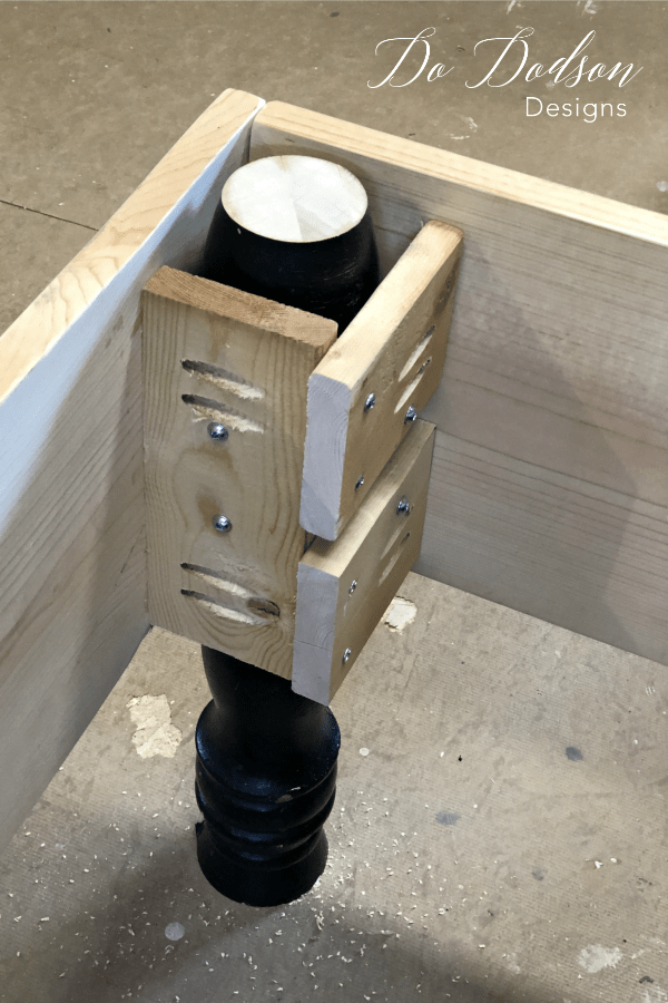 Adding these large bed spindles to my headboard bench and it was the perfect look I was going for.
