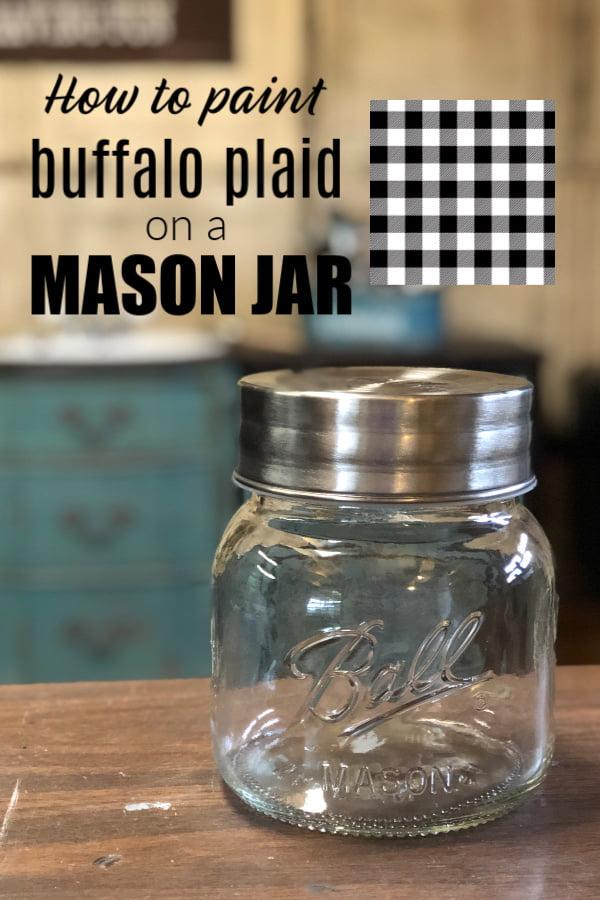 How to paint buffalo plaid on a mason jar.