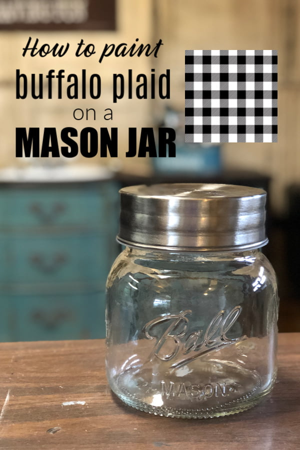 How to paint buffalo plaid on a mason jar.