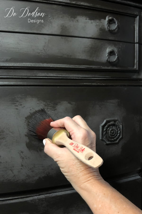 The second step was adding Coffee Bean chalk mineral paint using the dry brush method to get the layered paint finish.