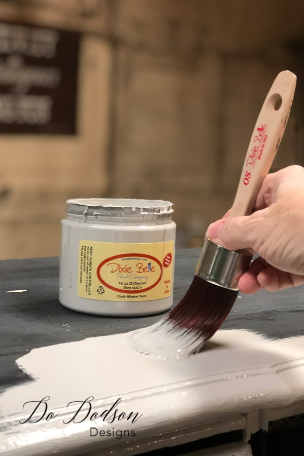 I began by painting with the best chalk paint I knew of. Dixie Belle chalk mineral paint was smooth and easy to apply and covered the dresser in one coat. Easy peasy! That's my kinda paint!