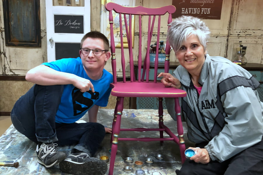 Painting chairs with Andy Arnold, CEO of Andy's Chairs. andyschairs.com