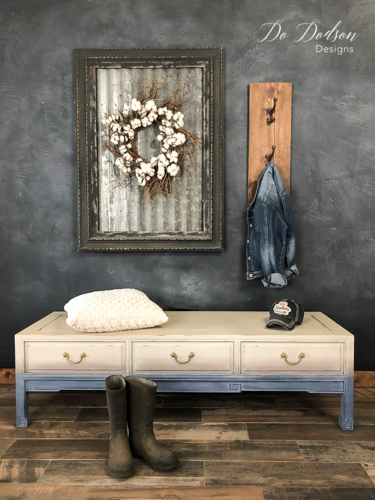 Add a faded denim look to your furniture with paint! It was so easy!