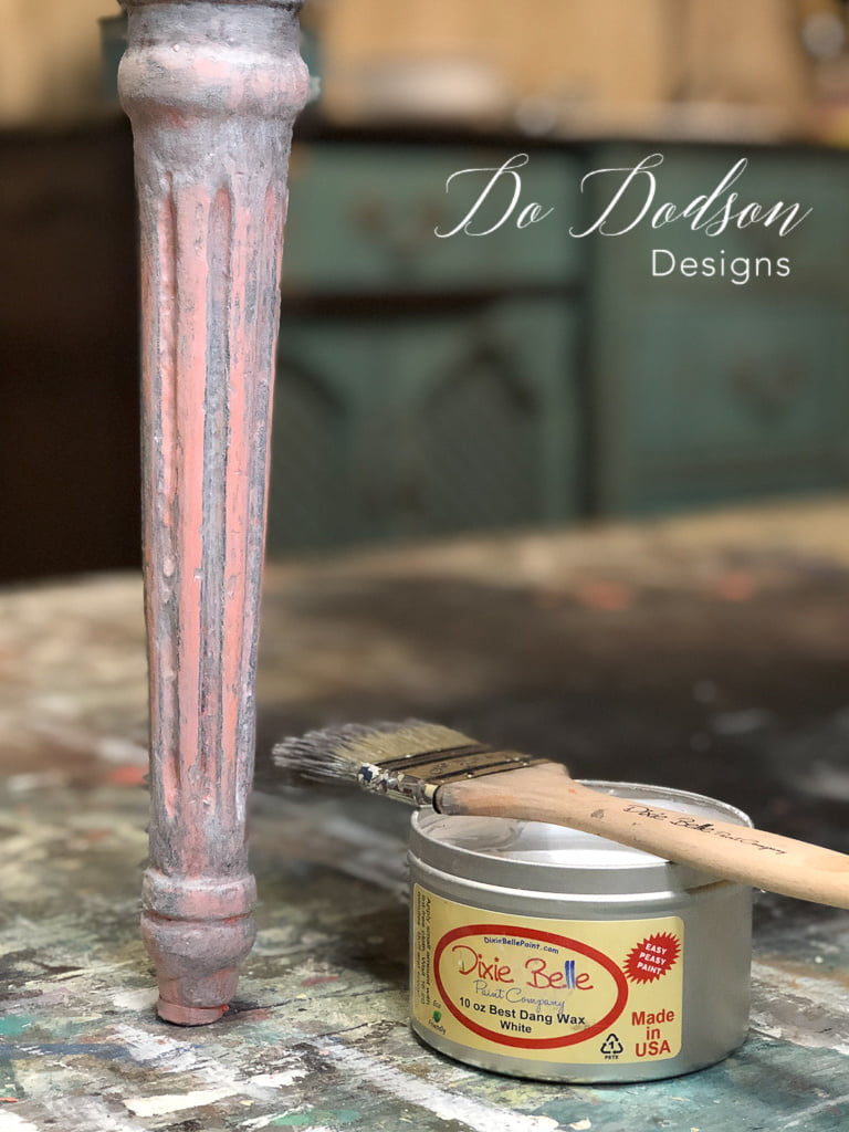 Adding white wax over the painted vintage armchair added a softness to the Flamingo chalk mineral paint color.