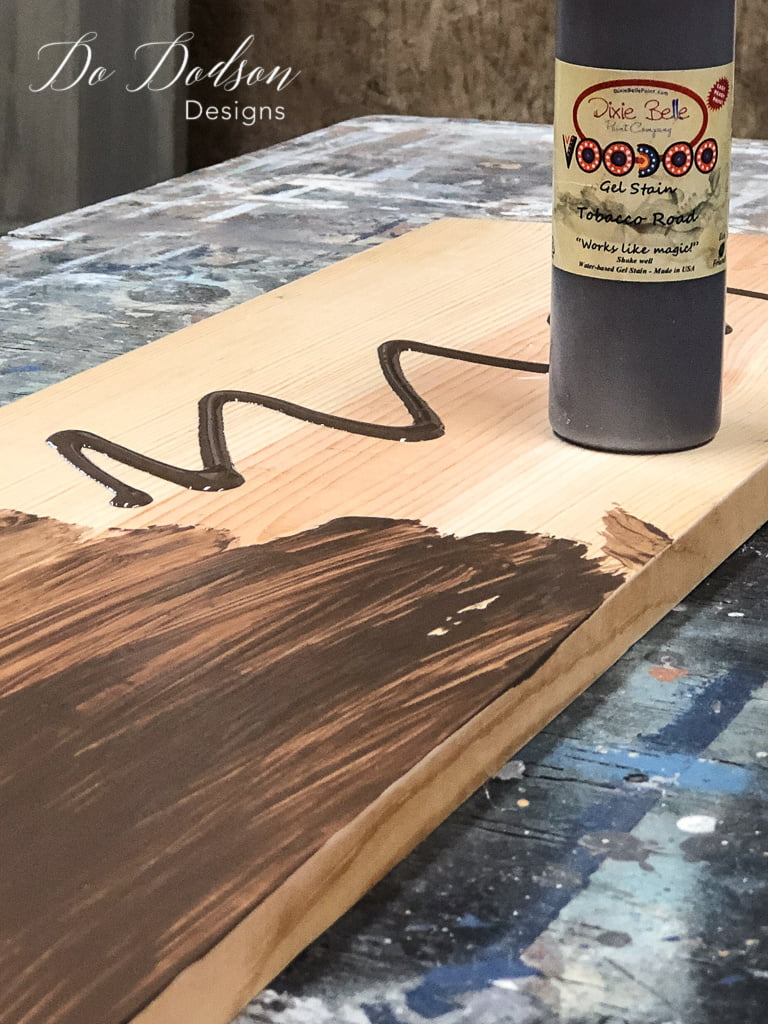 I applied the gel stain to the board that I would be using to make the wall coat hanger.