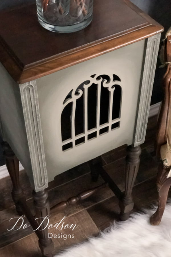 My side table idea was a huge success with this antique speaker cabinet.