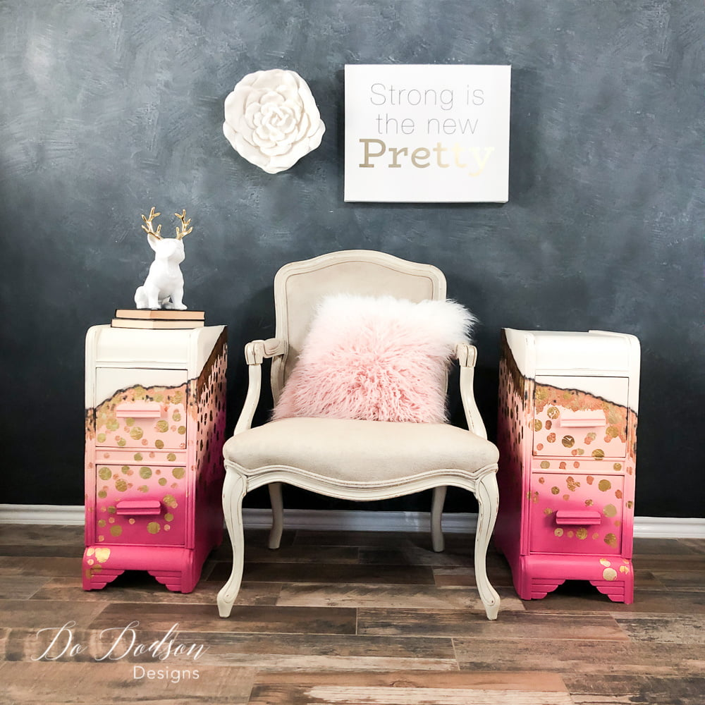 Whimsical pink painted nightstands with a copper and gold leaf twist.