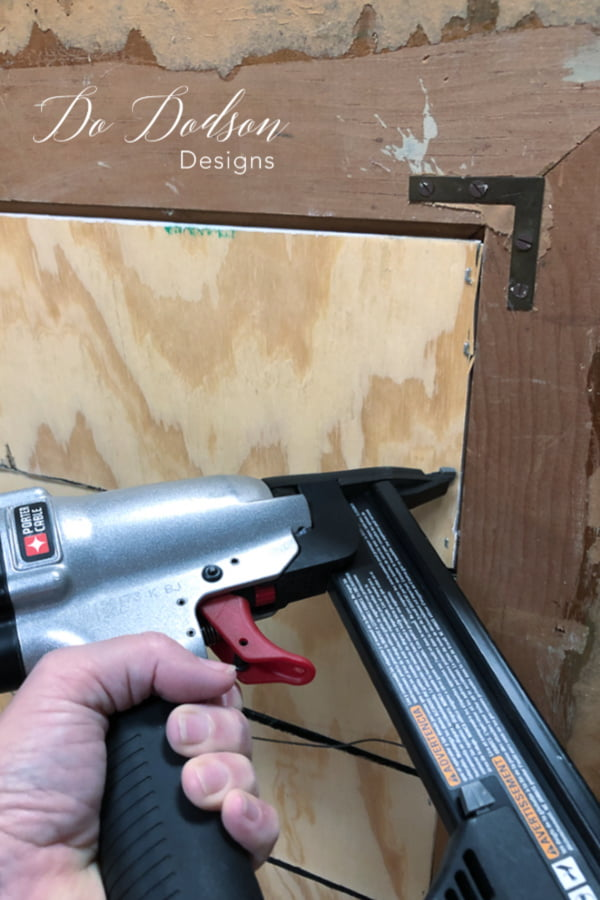 Next, attached the 1/4-in plywood strips to the frames with whatever you have on hand. I prefer quick and easy so I pulled out my pneumatic nail gun and went to town.