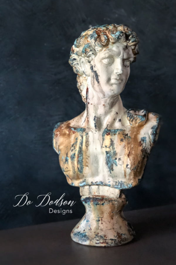 I added an aged patina finish to this bust of Michelangelo's David. Best thrift store find ever!