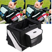 Yosoo Portable Pet Dog Bicycle Basket/Case Pet Dog Bicycle Carrier Travel Pet Bike Bag/Box For Poodle (Black)