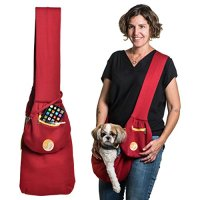 Timetuu BUY Hands-Free dog Carrier Sling , Soft Zipped POCKET, Waterproof BAG, for Small Dogs, Cat Rabbit Pets Puppies Reversible double-sided tote Pouch SIZE S/M SHORT Strap (Red Orange White)