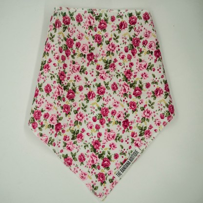 Floral Print Pink Roses on White Medium Bandana