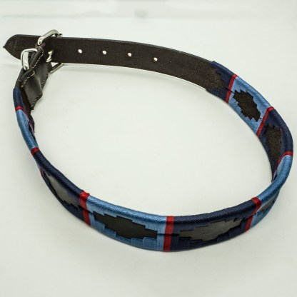Navy and Sky Polo XL Leather Collar