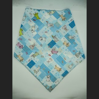 Patchwork Blue with Doggies Large Bandana